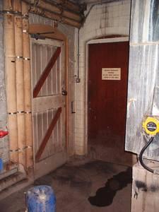 bri hospital service tunnel tunnel entrance inside welding workshop, bristol, united kingdom (uk).